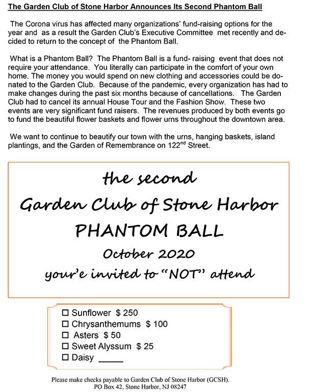 The Garden Club of Stone Harbor Announces Its Second Phantom Ball