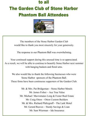 The Garden Club of Stone Harbor Phantom Ball thank you